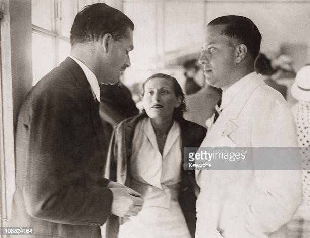Sir Anthony Eden talks to Count Galeazzo Ciano and Countess Edda Ciano during a luncheon party in Eden's honour in Rome 27th June 1935 The party is...