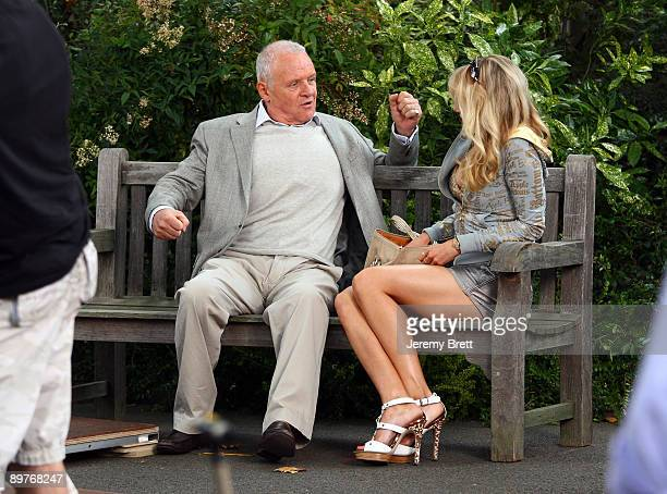 Sir Anthony Hopkins and Lucy Punch seen on set during filming for Woody Allen's latest film currently entitled Wasp 09 in Mayfair on August 13 2009...