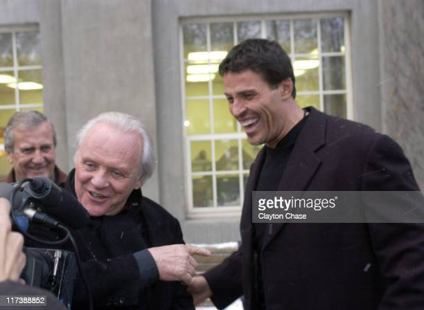 """Sir Anthony Hopkins and Tony Robbins during 2007 Sundance Film Festival - """"Slipstream"""" Premiere at Library Center Theatre in Park City, Utah, United..."""