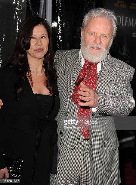 Sir Anthony Hopkins and wife Stella Arroyave attends the The Wolfman premiere at ArcLight Cinemas on February 9 2010 in Hollywood California