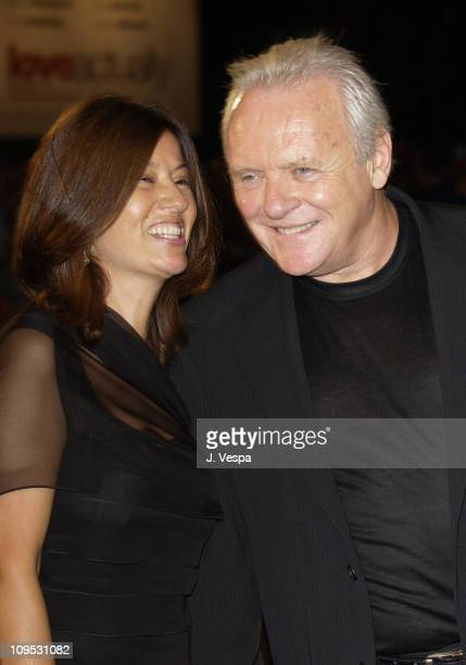 Sir Anthony Hopkins and wife Stella Arroyave during 2003 Venice Film Festival Human Stain Premiere at Palazzo del Cinema in Venice Lido Italy