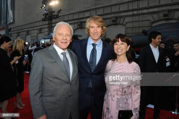 Sir Anthony Hopkins Michael Bay and Stella Arroyave attend the US premiere of 'Transformers The Last Knight' at the Civic Opera House on June 20 2017...