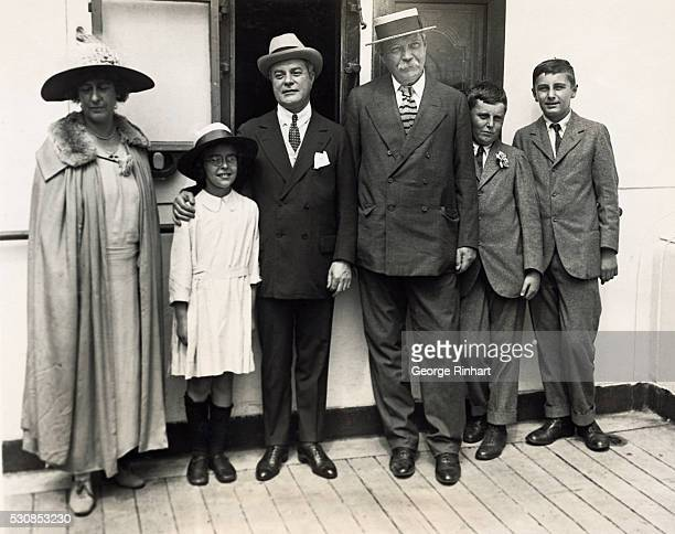 Sir Arthur Conan Doyle and family sail for home on the SS Adriatic Left to right Lady Doyle little Jean Doyle John McEbowman Sir Arthur Conan Doyle...