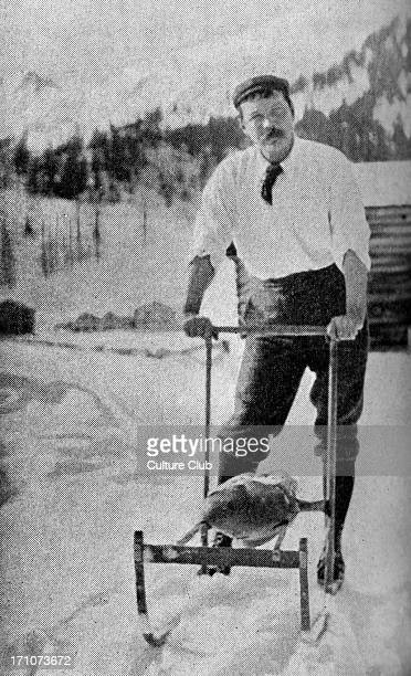 Sir Arthur Conan Doyle in the Swiss Alps Caption reads 'The running wolf Sir A Conan Doyle testing a Norwegian snow apparatus in the Engadine'...