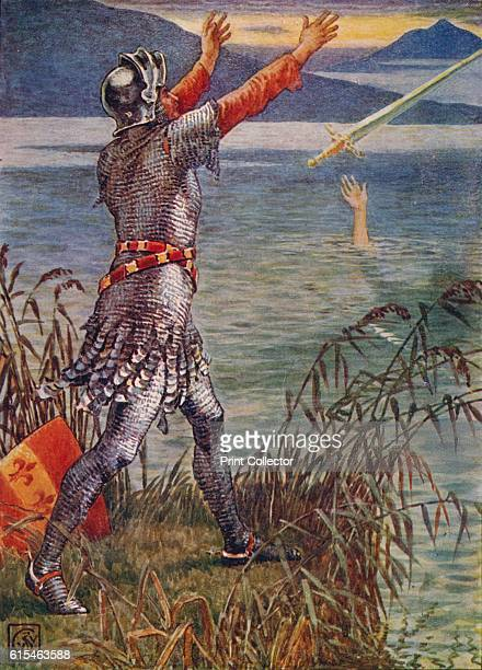 Sir Bedivere casts the sword Excalibur into the Lake' 1911 Of the rebellion of Mordred and death of King Arthur From Stories of the Knights of the...