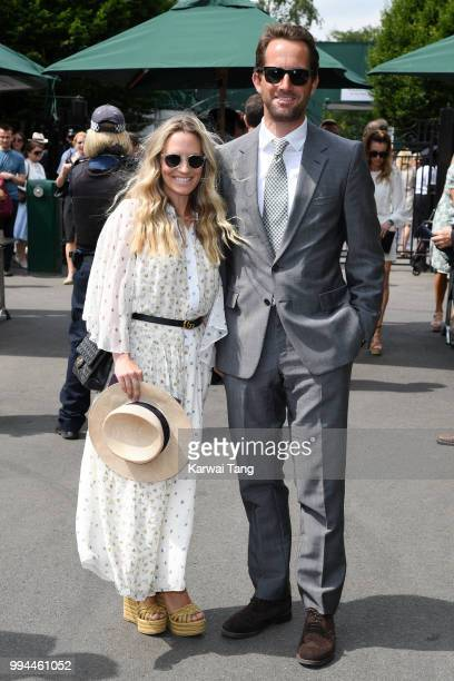 Sir Ben Ainslie and his wife Georgie Thompson attend day seven of the Wimbledon Tennis Championships at the All England Lawn Tennis and Croquet Club...