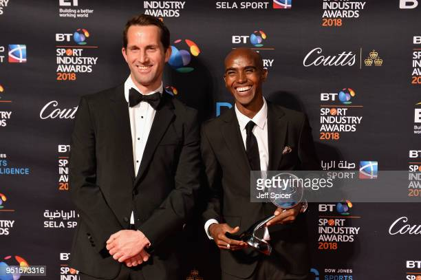 Sir Ben Ainslie and Sir Mo Farah pose for a photo after Mo Farah received his Coutts Outstanding Contribution to Sports Award during the BT Sport...