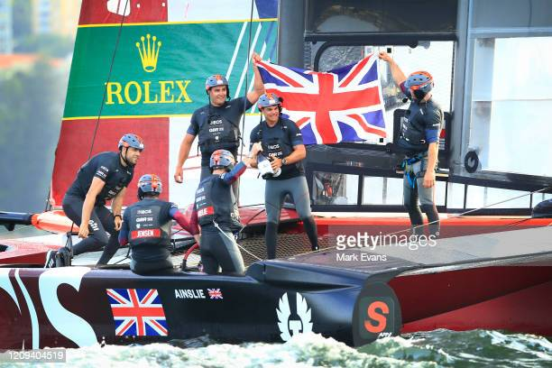 Sir Ben Ainslie, Helmsman of Great Britain Sail GP Team and his crew members celebrate victory during SailGP on Sydney Harbour on February 29, 2020...