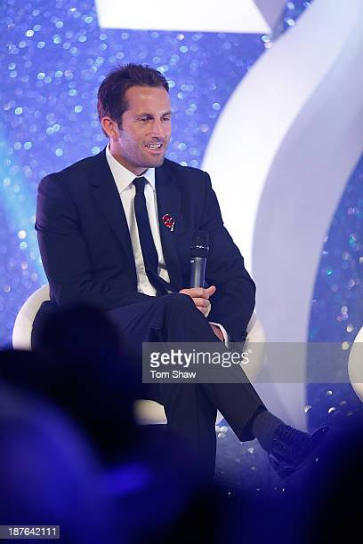 Sir Ben Ainslie of Great Britain talks on stage during the British Olympic Ball at The Dorchester on October 30 2013 in London England
