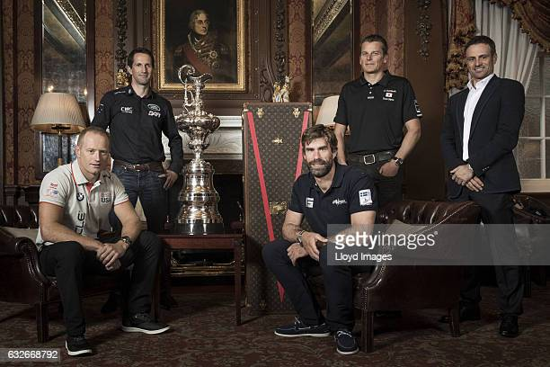 Sir Ben Ainslie skipper of LandRover BAR Franck Cammas skipper of Groupama Team France Dean Barker skipper of SoftBank Team Japan Iain Percy skipper...