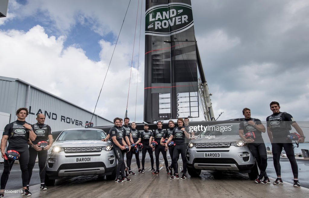 Sir Ben Ainslie skipper of LandRover BAR poses with team-mates as they launch and name the new Land Rover BAR R1 race yacht 'RITA' on February 6, 2017 in Hamilton, Bermuda.