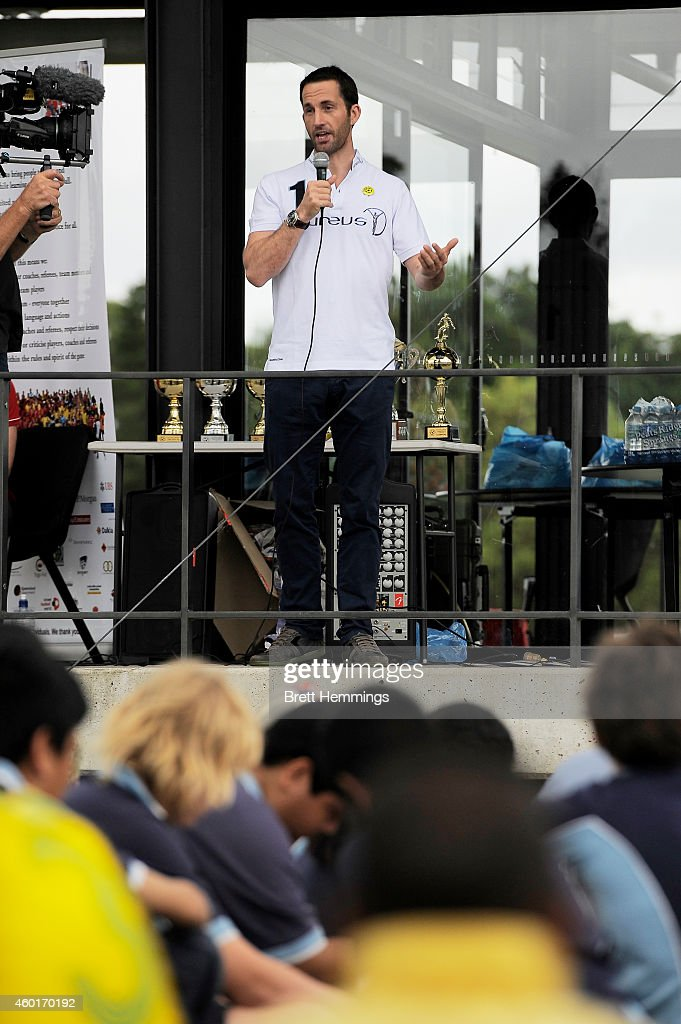 Sir Ben Ainslie speaks to school kids during his visit to Football United Festival supported by the Laureus Sport For Good Foundation on December 9, 2014 in Sydney, Australia.