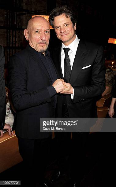 Sir Ben Kingsley and actor Colin Firth attend a preBAFTA dinner celebrating best film nominee The King's Speech hosted by The Weinstein Company and...