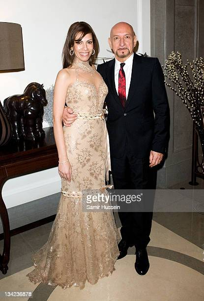 Sir Ben Kingsley and Daniela Lavender attend the after party for the Royal film performance of Hugo in 3D at the Corinthia Hotel on November 28 2011...