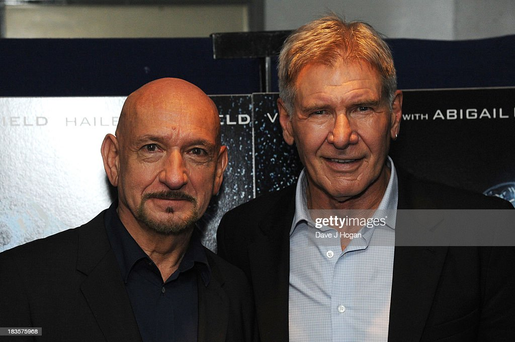 Sir Ben Kingsley and Harrison Ford attend a fan event for 'Enders Game' at The Odeon Leicester Square on October 7, 2013 in London, England.