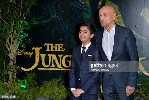 Sir Ben Kingsley and Neel Sethi arrive for the European premiere of 'The Jungle Book' at BFI IMAX on April 13 2016 in London England