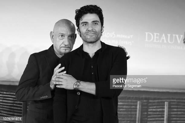 Sir Ben Kingsley and Oscar Isaac attend a photocall for 'Operation Finale' on September 8 2018 in Deauville France