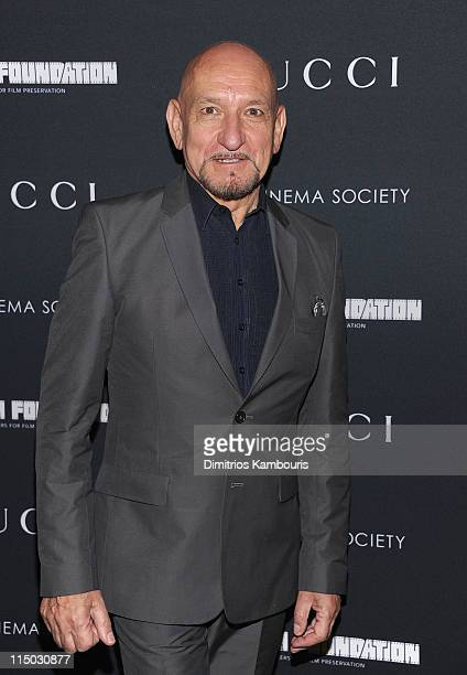 Sir Ben Kingsley attends the Gucci Cinema Society the Film Foundation screening of 'La Dolce Vita' at the Tribeca Grand Hotel on June 1 2011 in New...