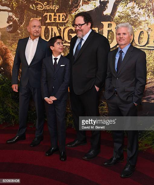 Sir Ben Kingsley Neel Sethi Jon Favreau and Brigham Taylor attend the European Premiere of 'The Jungle Book' at BFI IMAX on April 13 2016 in London...