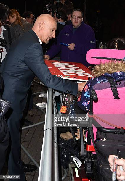 Sir Ben Kingsley signs for fans at the European Premiere of 'The Jungle Book' at BFI IMAX on April 13 2016 in London England