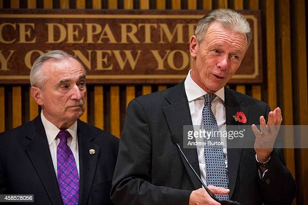 Sir Bernard HoganHowe Commissioner of the Metropolitan Police of London and New York Police Department Commissioner Bill Bratton attend a media...