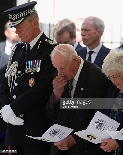 Sir Bernard HoganHowe the Commissioner of the Metropolitan Police Tim Fletcher and Queenie Fletcher listen during a memorial service for the murdered...
