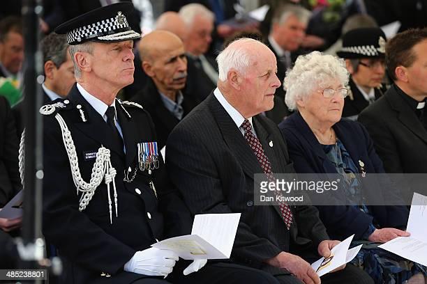 Sir Bernard HoganHowe the Commissioner of the Metropolitan Police Tim Fletcher Queenie Fletcher listen during a memorial service for the murdered...