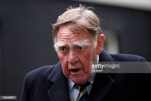 Sir Bernard Ingham arrives in Downing Street to attend a party to celebrate the 85th birthday of Baroness Thatcher on October 14 2010 in London...