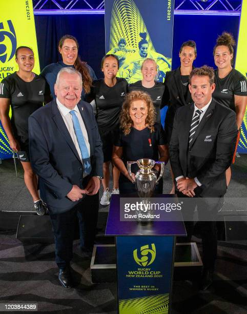 Sir Bill Beaumont, World Rugby Chairman Dame Julie Christie, RWC2021 Organising Committee Chair and Mark Robinson, New Zealand Rugby CEO with Black...