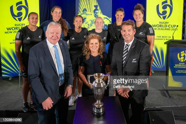 Sir Bill Beaumont World Rugby Chairman Dame Julie Christie RWC2021 Organising Committee Chair and Mark Robinson New Zealand Rugby CEO with Black...