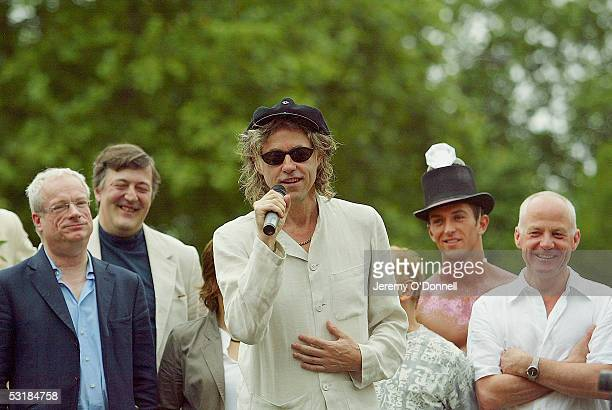 Sir Bob Geldof addresses the assembled masses prior to the march for Gay Pride while while former Culture Secretary Chris Smith Stephen Fry and actor...