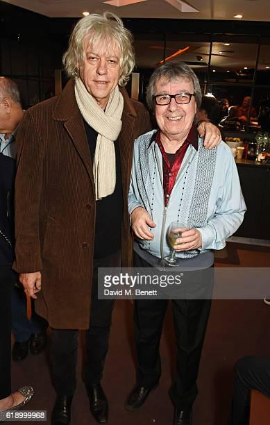 Sir Bob Geldof and Bill Wyman pose backstage at Bill Wyman's 80th Birthday Gala as part of BluesFest London at Indigo at The O2 Arena on October 28...