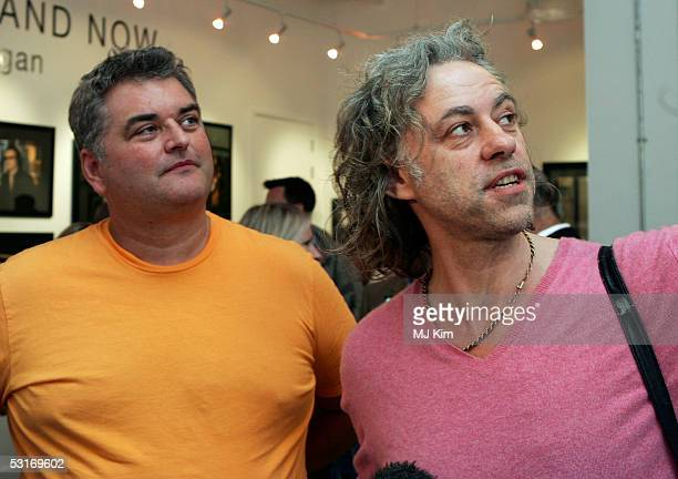 Sir Bob Geldof and photographer Dave Hogan attend the 'Live Aid Then Now' private view at the Getty Images Gallery on June 29 2005 in London England...