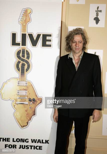Sir Bob Geldof announces details for the second Live Aid charity concert 'Live 8' expected to take place July 2 in Hyde Park at Grosvenor House Hotel...