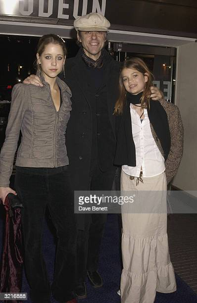 Sir Bob Geldof arrives with his daughters Peach and Pixie at the UK Premiere of 'The Lord Of The Rings The Two Towers' held on December 11 2002 at...