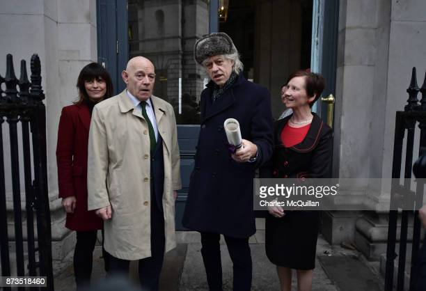 Sir Bob Geldof hands back his freedom of Dublin city to Onnagh Casey Dublin City Manager's Office alongside Mannix Flynn Dublin city councillor at...