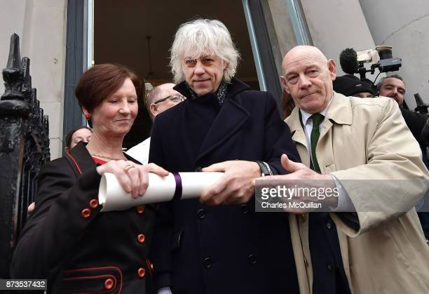 Sir Bob Geldof hands back his freedom of Dublin city to Onnagh Casey Dublin City Manager's Office at Dublin City Hall on November 13 2017 in Dublin...