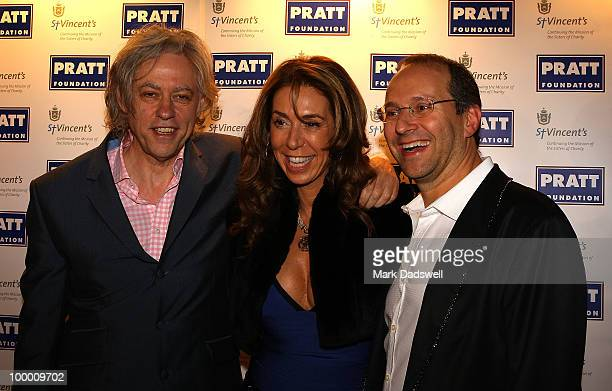 Sir Bob Geldof is greeted by Heloise and Alex Waislitz at the Pratt Foundation's An Intimate Evening with Sir Bob Geldof in support of St Vincent's...