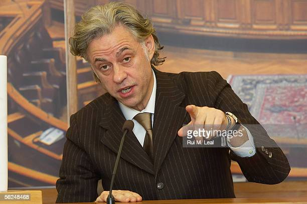 Sir Bob Geldof is presented with the XI 2005 NorthSouth Prize at the Portuguese Parliament on November 21 2005 in Lisbon Portugal Geldof was jointly...