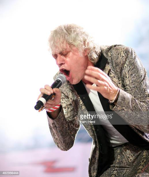 Sir Bob Geldof of The Boomtown Rats performs on stage at Guilfest at Stoke Park on July 18 2014 in Guildford United Kingdom