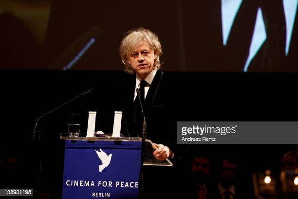 Sir Bob Geldof speaks at the Cinema for Peace Gala ceremony at the Konzerthaus Am Gendarmenmarkt during day five of the 62nd Berlin International...