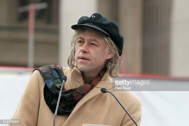 Sir Bob Geldof speaks at the Make Poverty History rally at Trafalgar Square in London Make Poverty History is a coalition of over 220 charities...