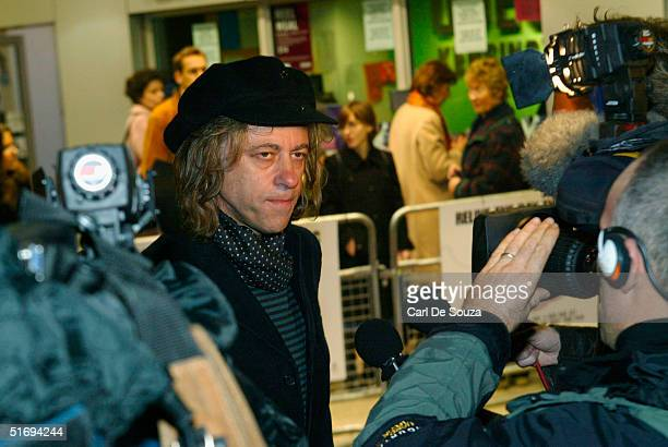 Sir Bob Geldof talks to the media at the Premiere screening of the new fourdisc DVD featuring 10 hours of footage from the historic charity concert...