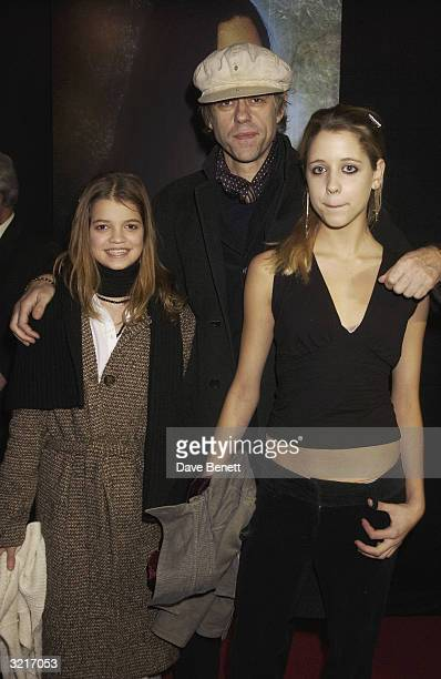 Sir Bob Geldof with his two daughters Peach and Pixie at the UK Premiere of The Lord Of The Rings The Two Towers held on December 11 2002 at the...