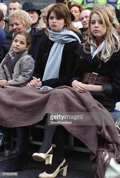 Sir Bob Geldof's daughters Tiger Lily Pixie and Peaches look on as their father receives the freedom of the city honour in their hometown March 5...