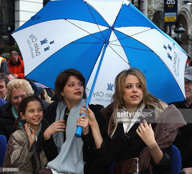 Sir Bob Geldof's daughters Tiger Lily Pixie Peaches look on as their father receives the freedom of the city honour in their hometown March 5 2006 in...