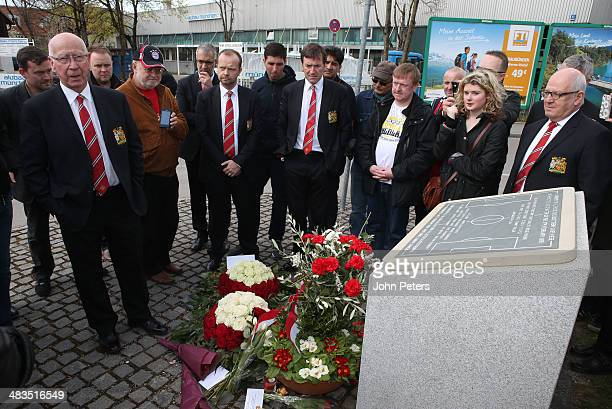 Sir Bobby Charlton and Deputy Vice Chairman Ed Woodward of Manchester United lay a wreath at the memorial to the Munich Air Disaster of 1958 on April...
