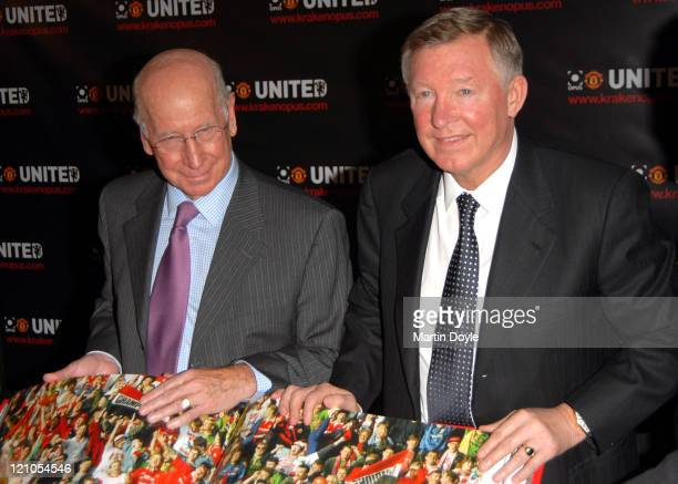 Sir Bobby Charlton and Sir Alex Ferguson during Manchester United Opus Photocall at The Hospital in London Great Britain