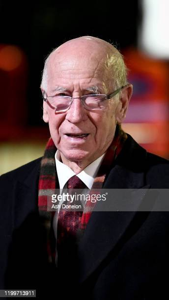 Sir Bobby Charlton arrives ahead of the FA Cup Third Round Replay match between Manchester United and Wolverhampton Wanderers at Old Trafford on...