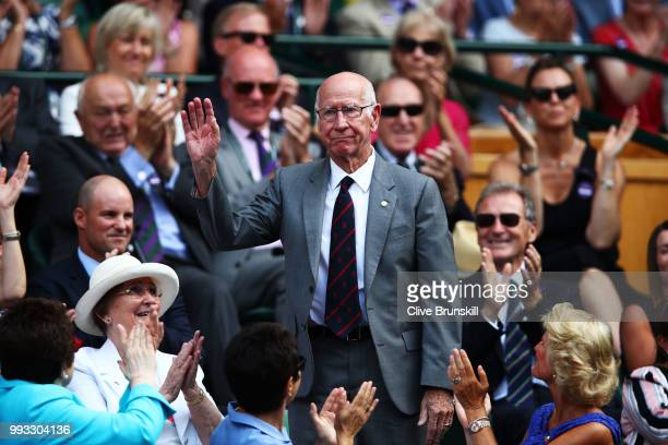 Sir Bobby Charlton attends day six of the Wimbledon Lawn Tennis Championships at All England Lawn Tennis and Croquet Club on July 7 2018 in London...